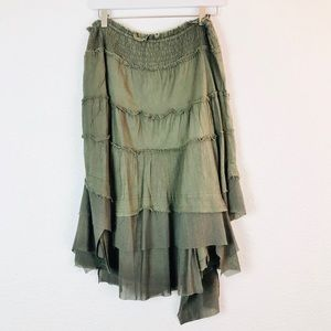 Vintage Free People Boho Gypsy Skirt Green M Layer